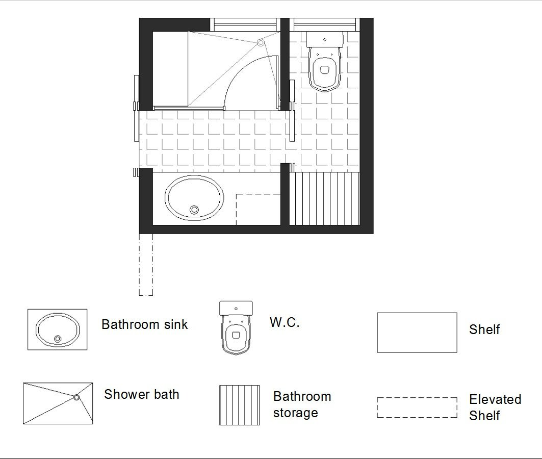 3/4 bath floor plan