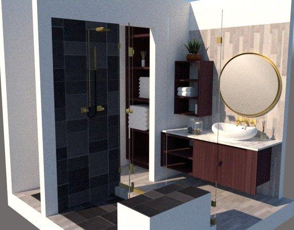 3/4 bathroom plan with mirror