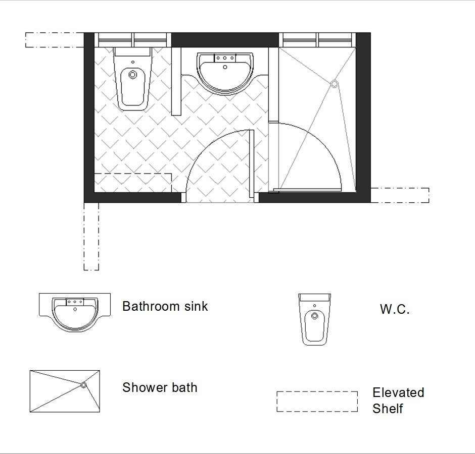 one ambient 3/4 bath plan