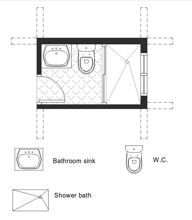 3/4 small bath floor plan