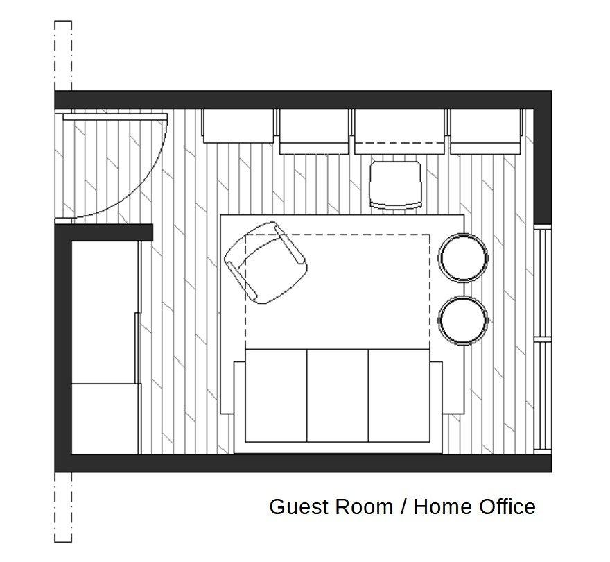 Home office in guest room floor plan