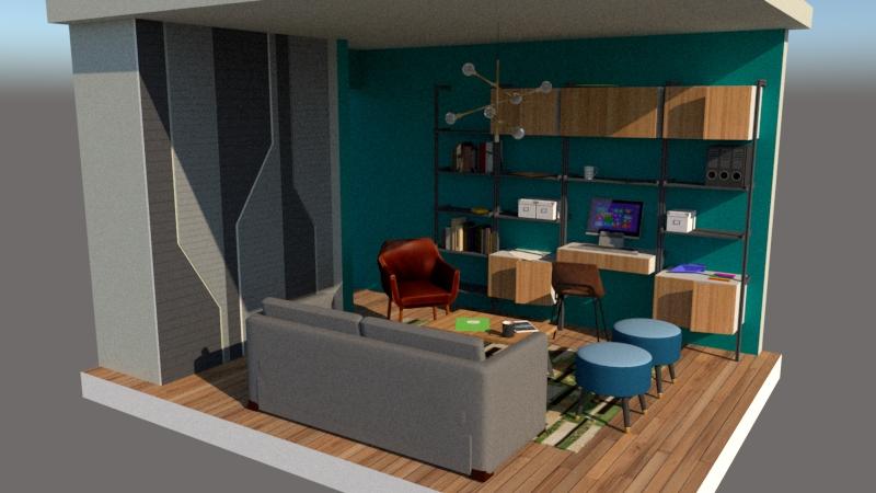 Home office in guest room render