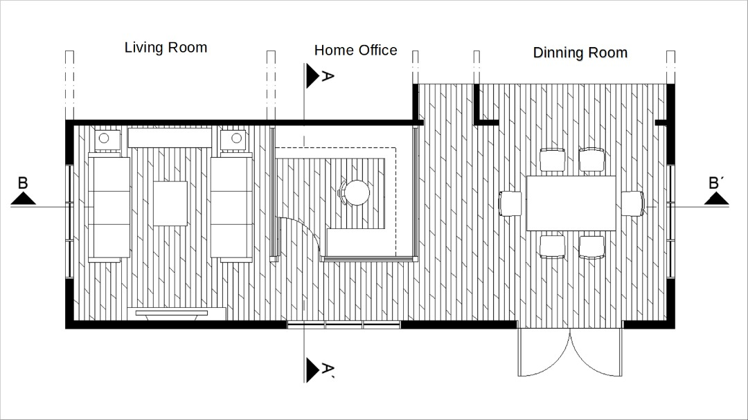 Home office between living room and dining room