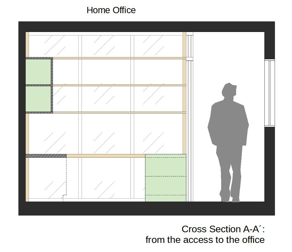 Home office cross section between living and dining room