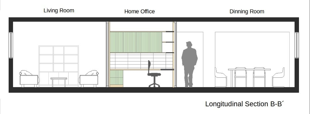 Home office longitudinal section - living and dining