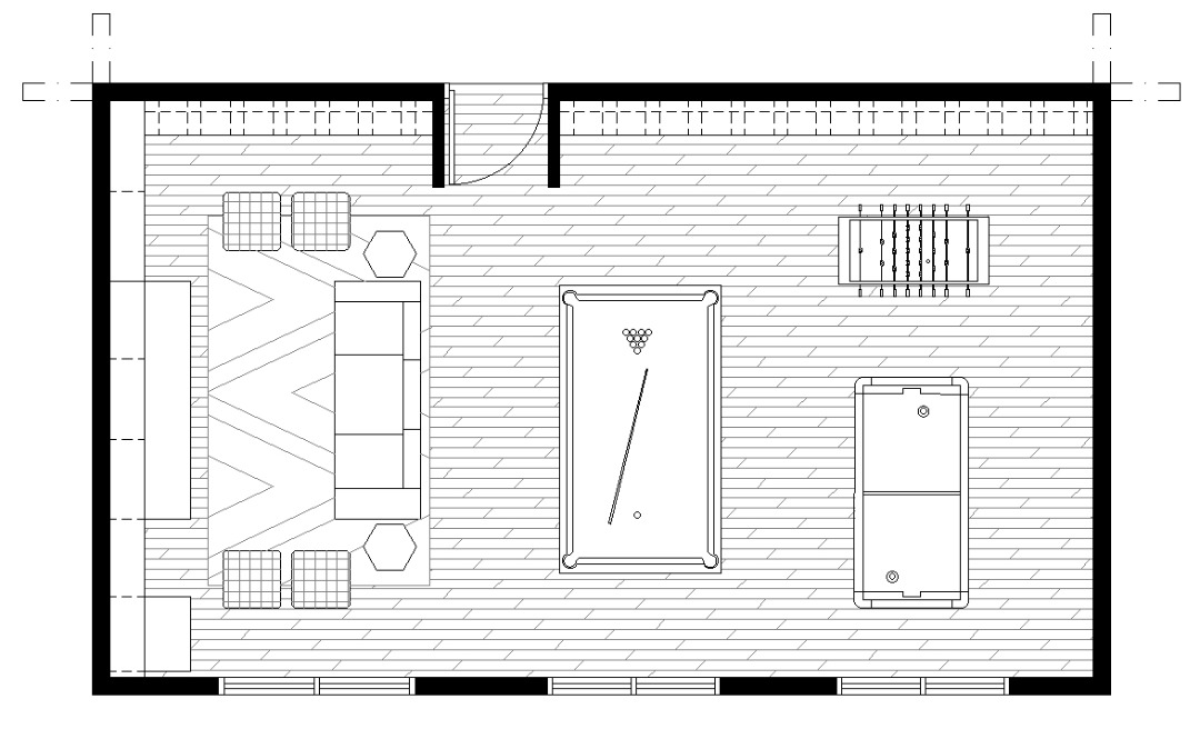 Game room floor plan with pool table