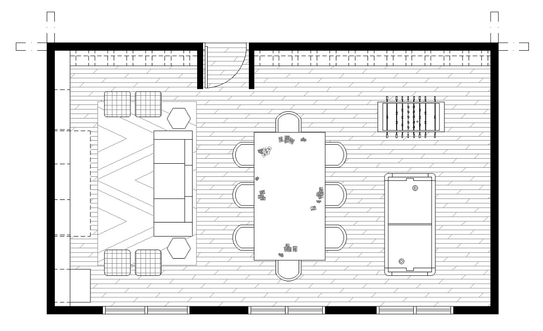 Game room plan with poker table