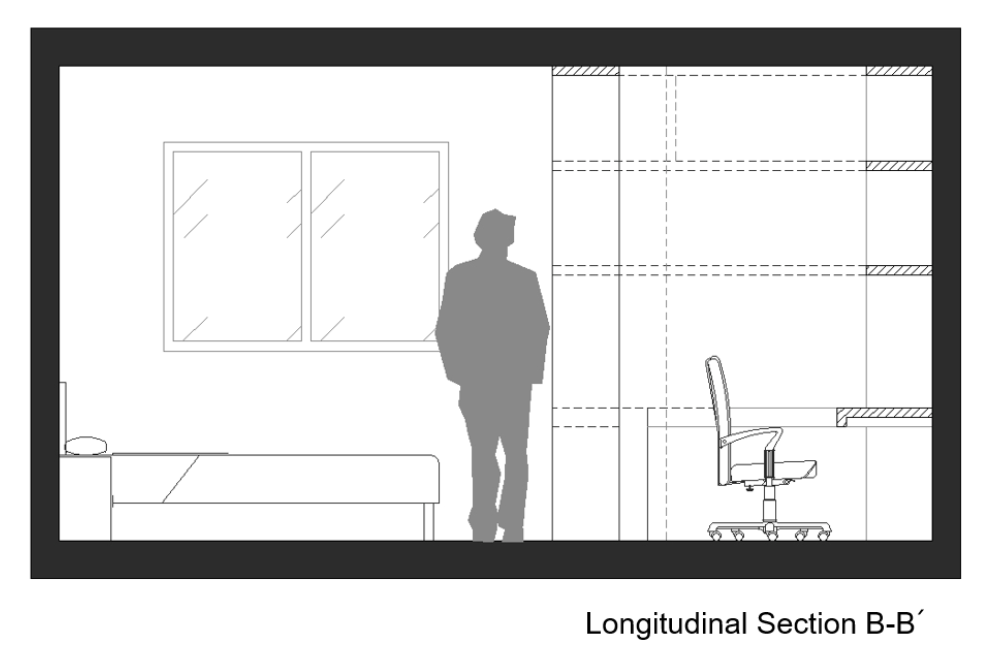 Gaming room bedroom cross section