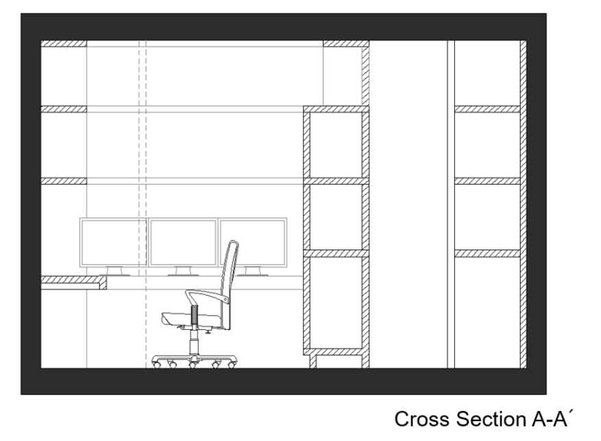 Gaming room bedroom cross section A