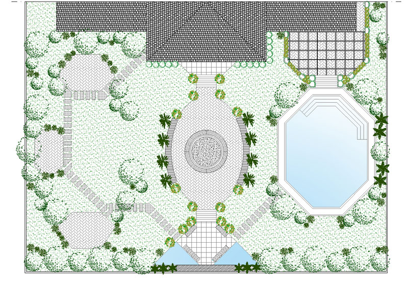 Patio with two central and side accesses and seven terraces