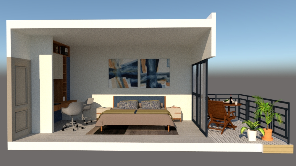 master bedroom and terrace