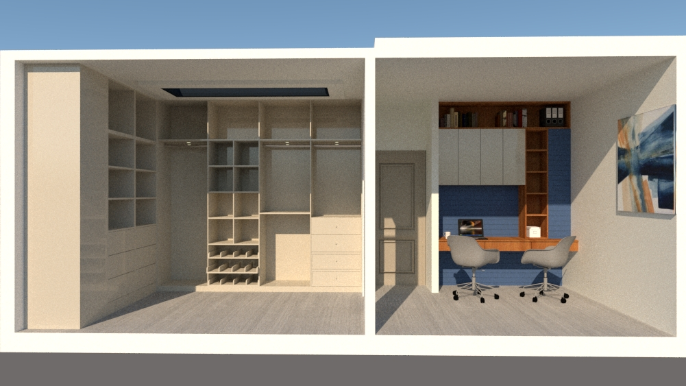 walk in closet and office