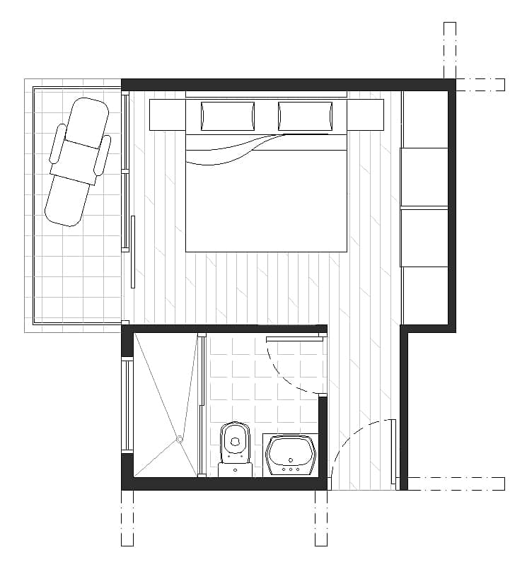 master bedroom and 3/4 bath