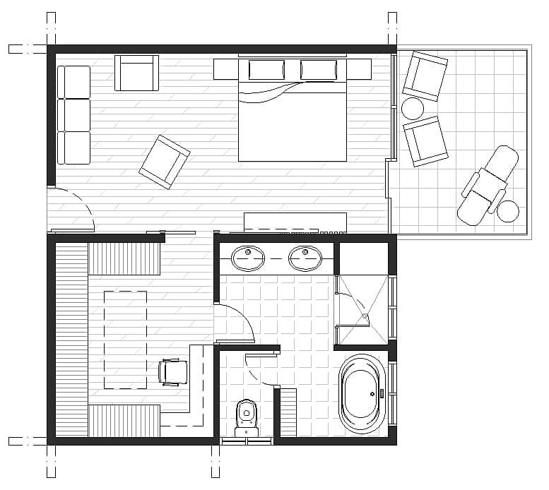 master bedroom and spa bathroom