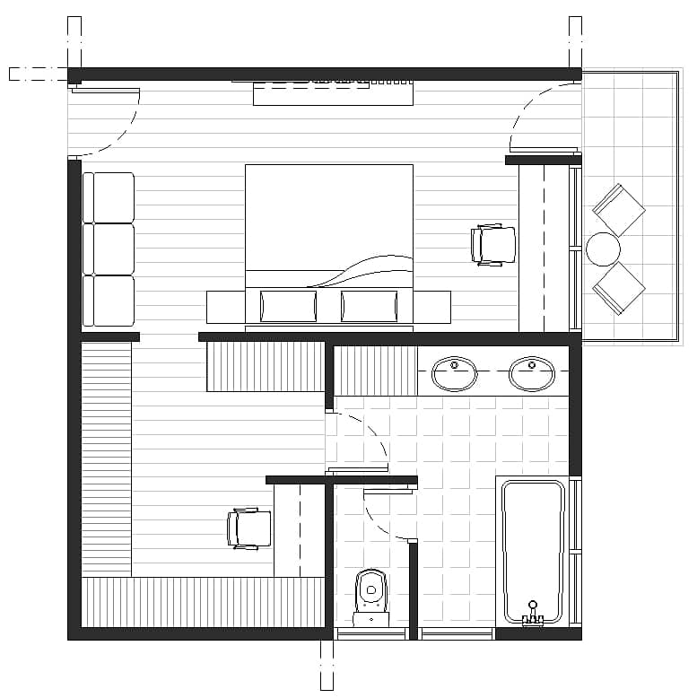 master bedroom study space and terrace