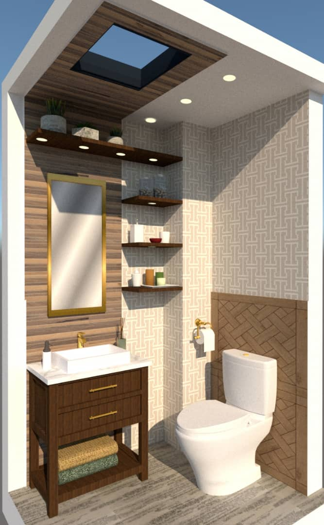 powder room with skylight