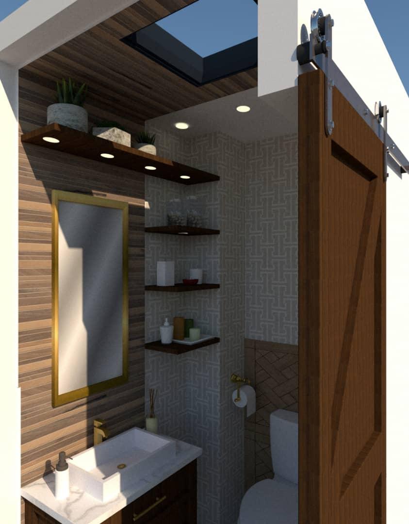 powder room with barndoor