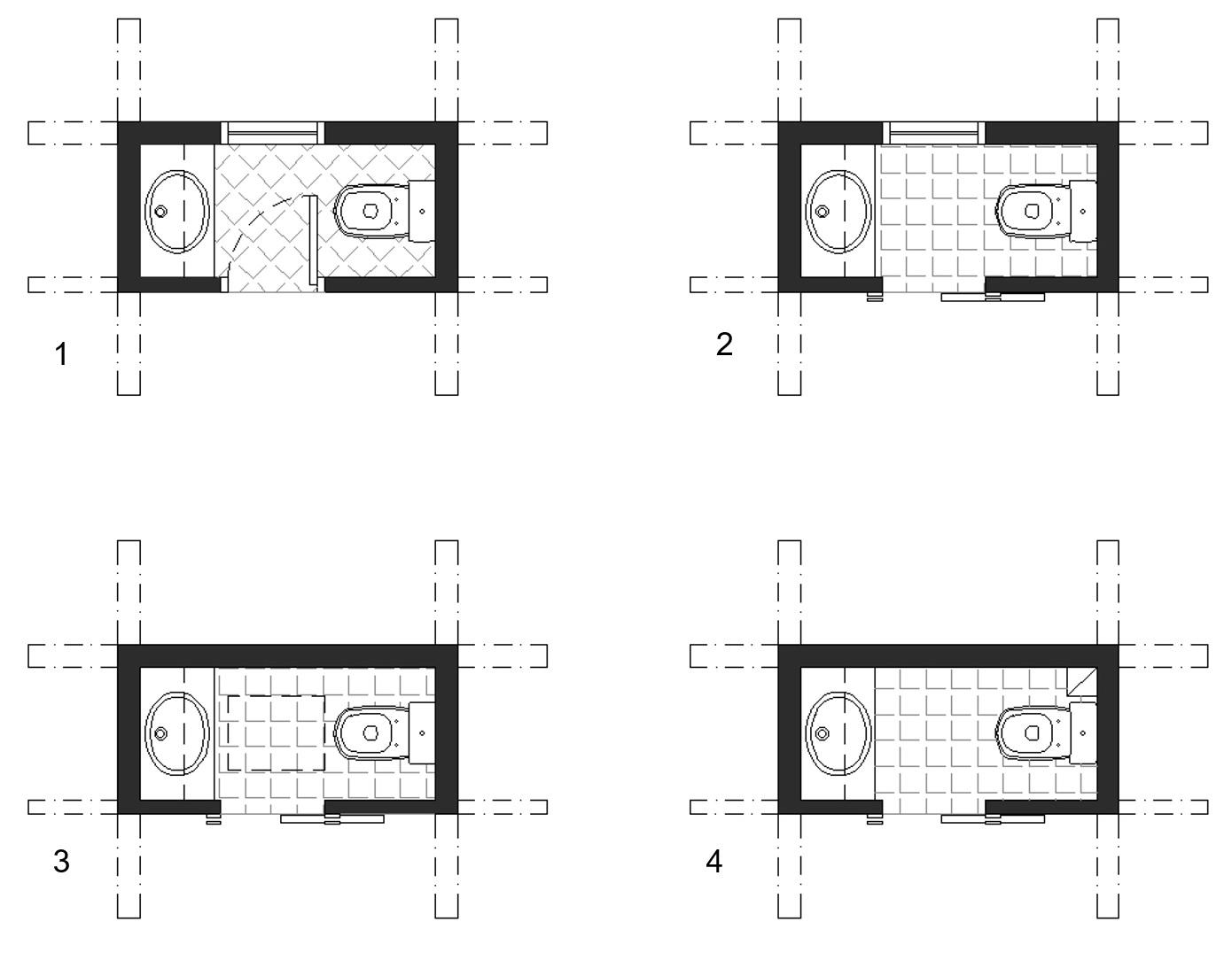 powder room floor plan facing fixtures
