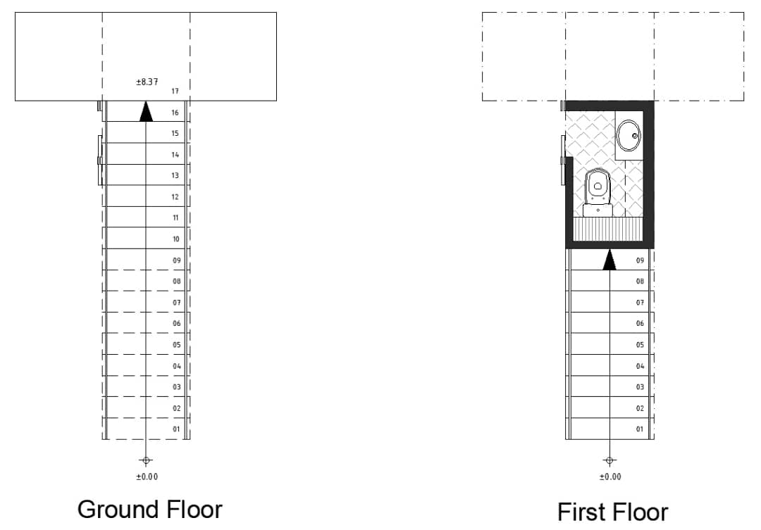 powder room floor plan with the stairs