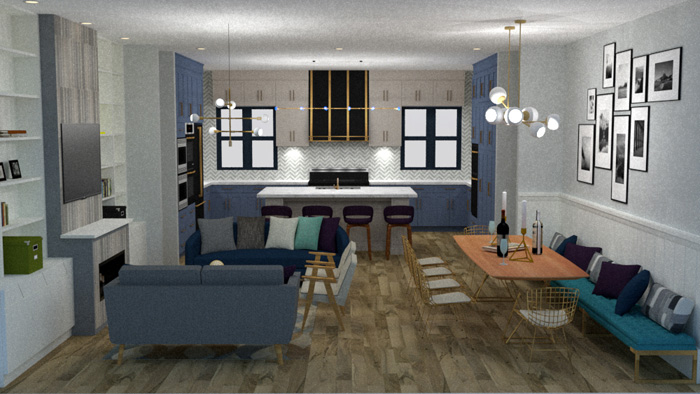 dining room and living room open concept