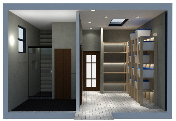 garage floor plan bath