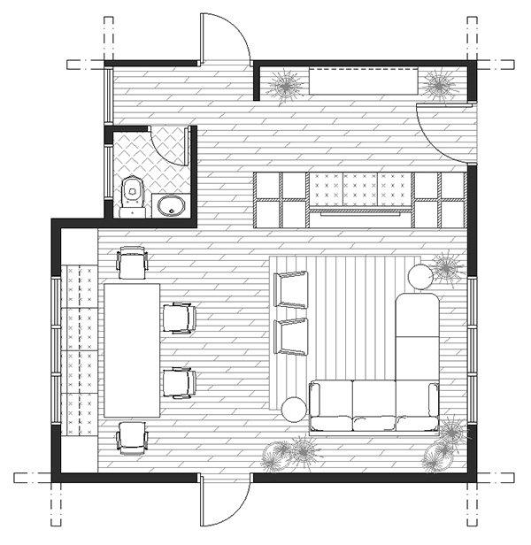 small living room floorplan with bath