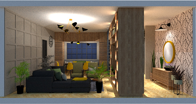 small living are with dining room and bathroom