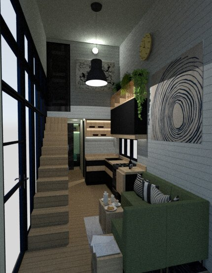 Tiny house living area view