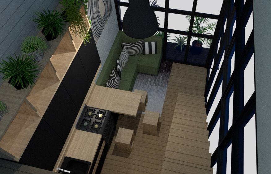 tiny house open concept kitchen