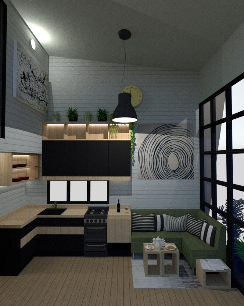 Tiny house open kitchen frontal view