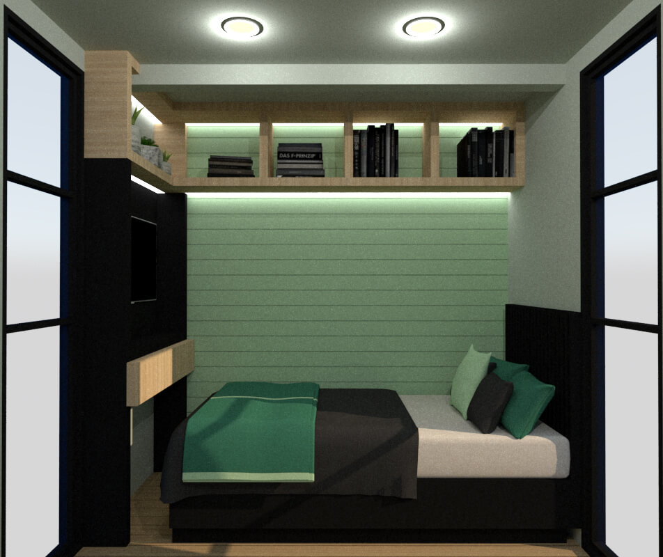 Tiny house secondary bedroom view lateral