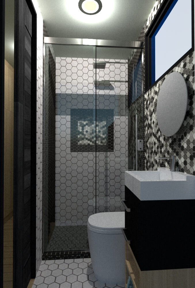 Tiny house bathroom lateral view