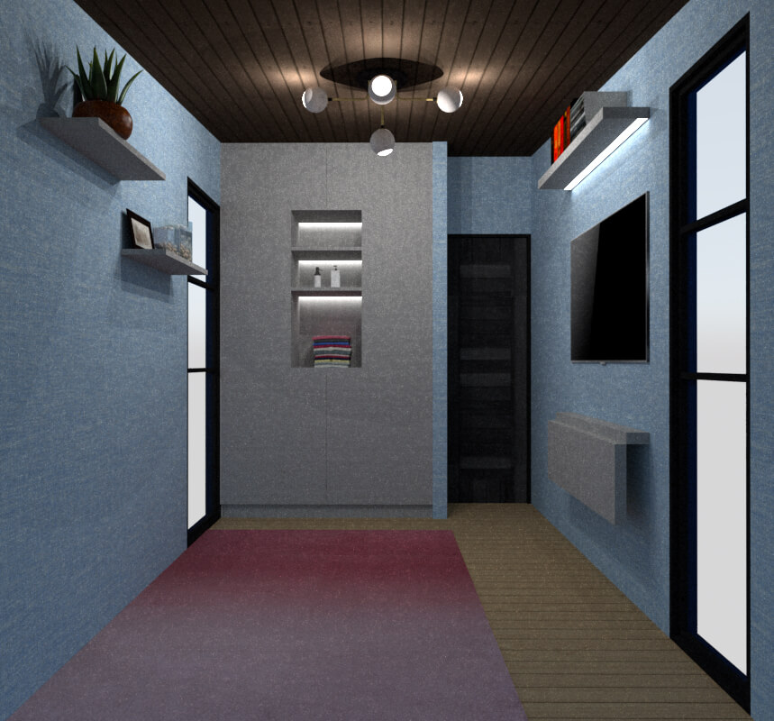Tiny house bedroom back view