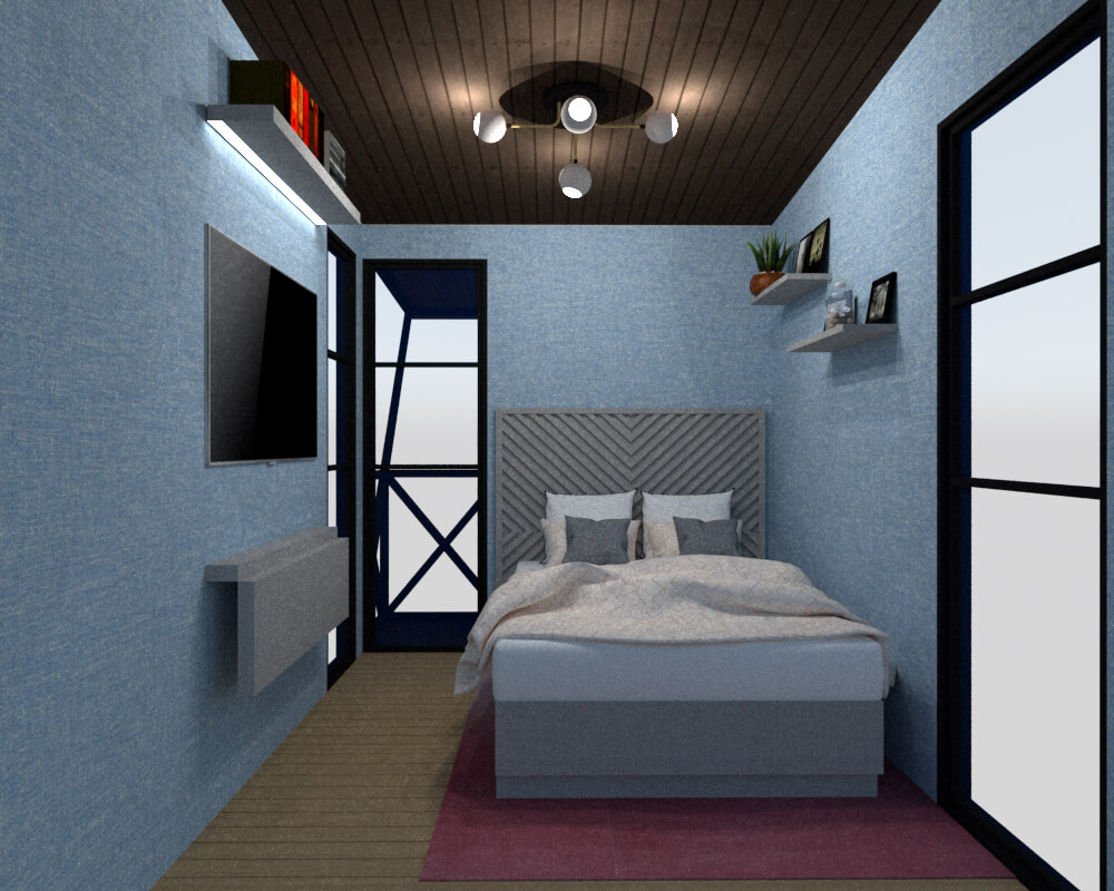 Tiny house bedroom frontal view