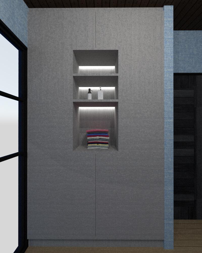 Tiny house bedroom storage