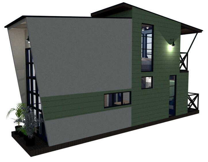 Tiny house floor plan left back view