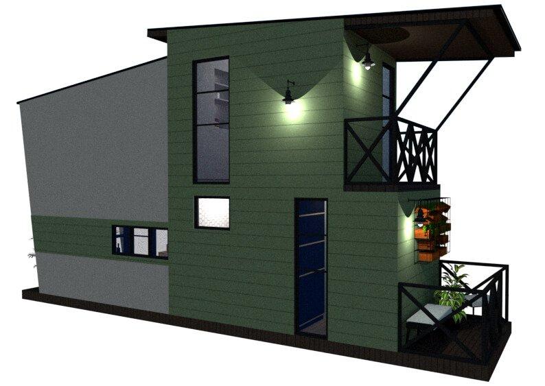 Tiny house floor plan left view