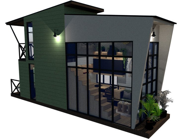 Tiny house floor plan right back view