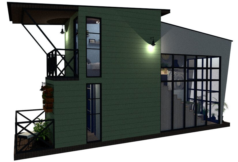 Tiny house floor plan right view
