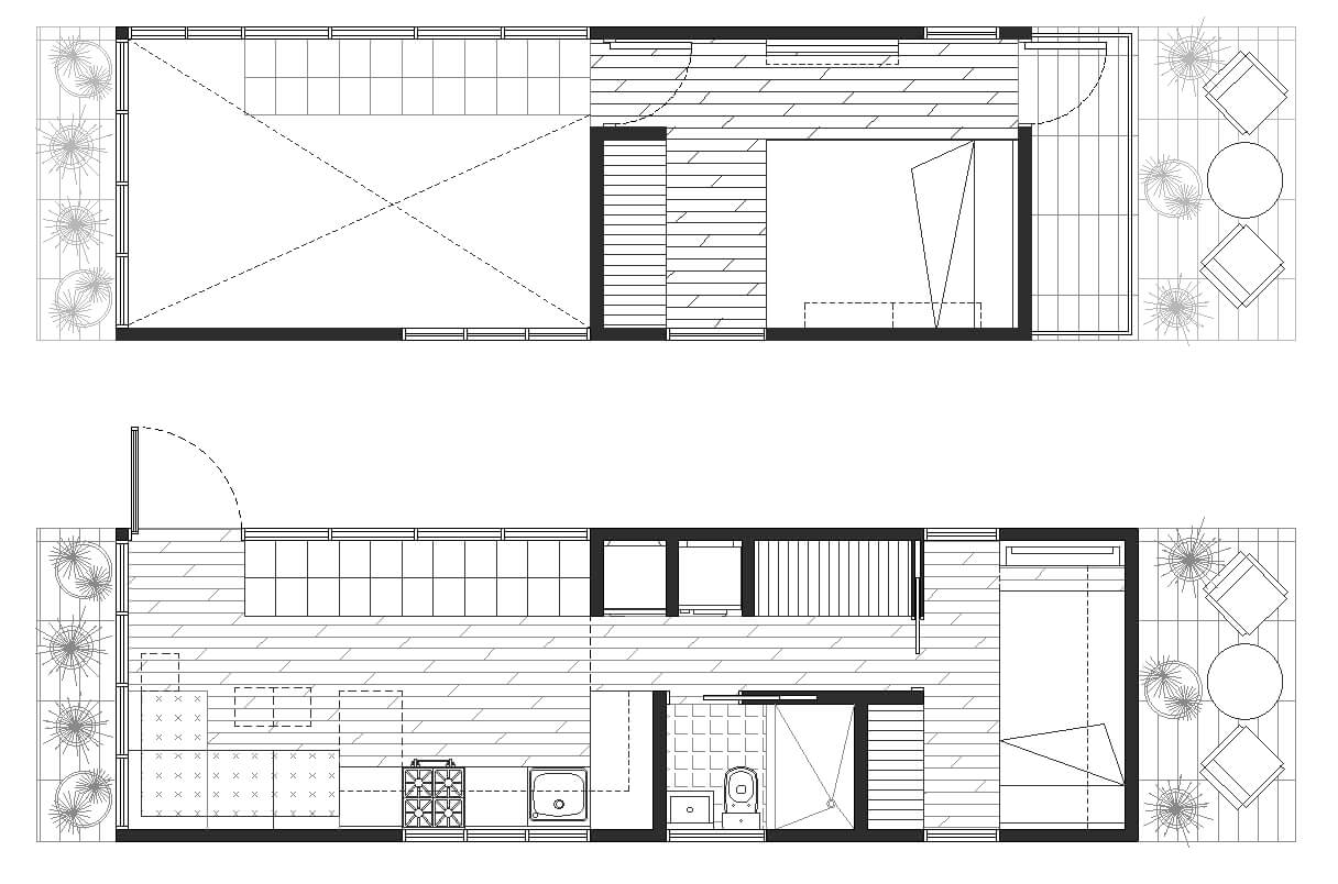 Tiny house floor plans two plants layout