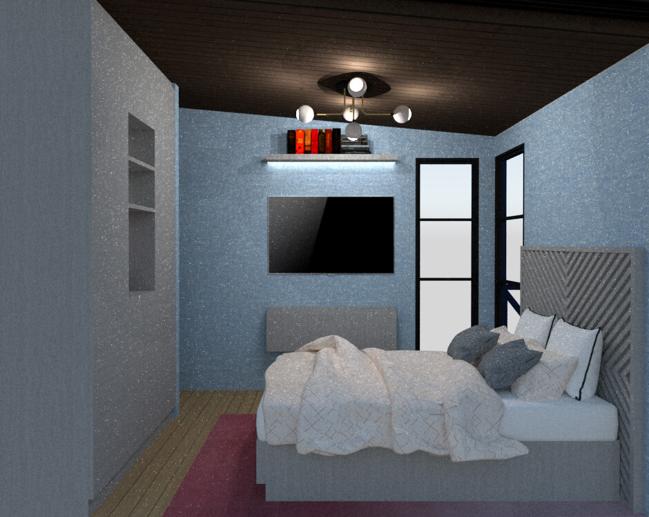 Tiny house bedroom lateral view